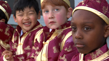 Durrell Laury and kindergarten pals in Chinese clothes -- (Photo credit: Marcia Jarmel)
