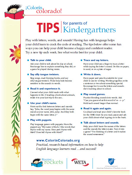 Kindergarten tip sheet