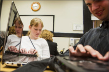 Laura Boelens, 15, left, and Adam Roberge, 20, work with teacher Kate Crohan in a computer class at Perkins School for the Blind in Watertown, Mass. Education Week.