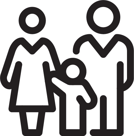 Graphic of two adults and a child.