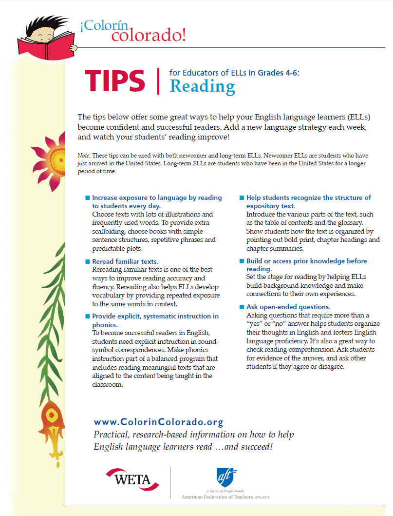 Reading Tip Sheets for Educators | Colorín Colorado