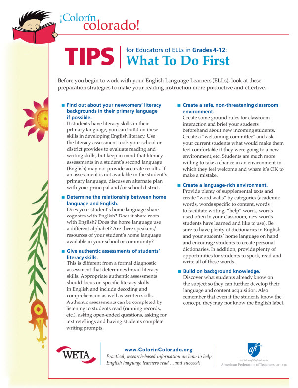 What to do first tip sheet
