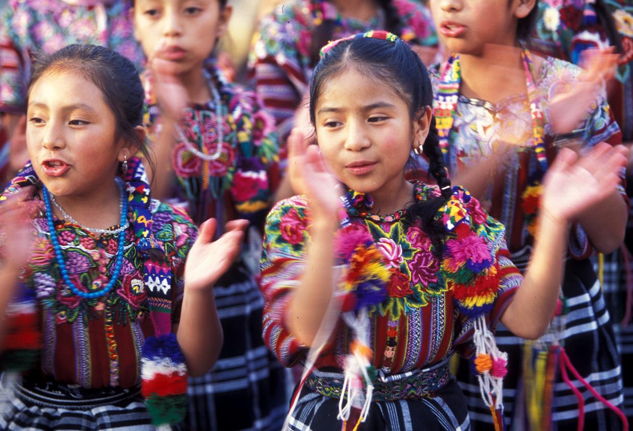 Guatemalan girls in festival
