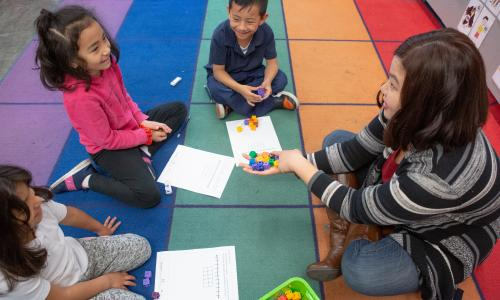 Small group math lesson in classroom