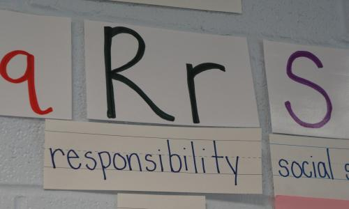A large letter R on the wall with the word responsibility below it.
