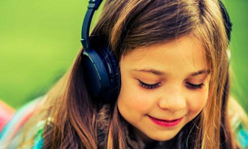 Girl using headphones