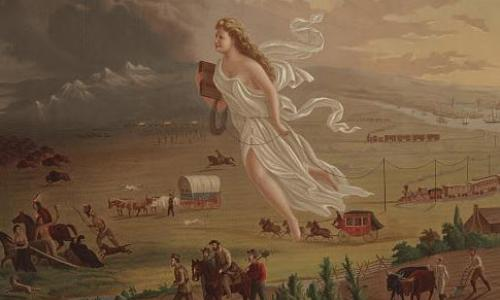 An illustration of a woman floating above a depiction of the westward expansion.