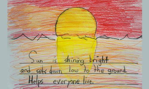 A drawing of a sunset with a short handwritten poem.