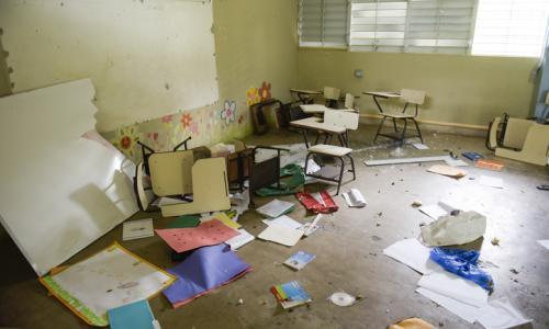 School in Puerto Rico after Hurricane Maria