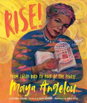 Maya Angelou holding a book and an open cage. A bird is flying away.