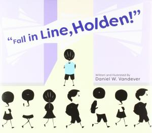 Drawing of children walking in a line, except for one kid in a blue shirt.