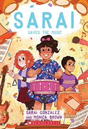 Girl in glasses playing drum while another girl plays triangle and a boy plays drums.
