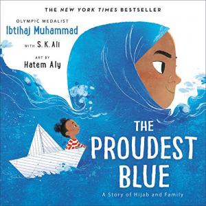 Drawing of a young girl in a blue hijab that looks like the ocean. A girl in a paper boat is on the ocean.