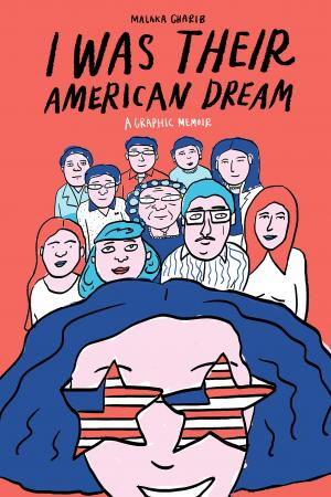 Drawing of a diverse group standing behind a girl with american flags shaped like stars for eyes.