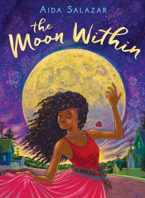 Illustration of girl in red dress dancing in front of the moon wearing a heart necklace.