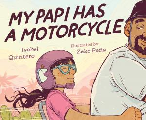 Illustration of a girl riding on the back of her dad's motorcycle.