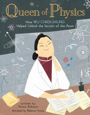A woman in a lab coat sits in front of books and physics symbols float around her.