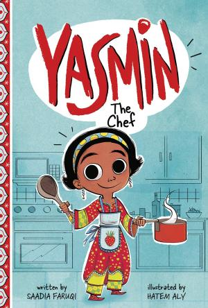 Illustration of a young girl wearing an apron in the kitchen holding a pot and spoon.
