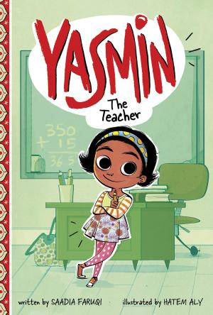 Illustration of young girl learning against a teacher's desk.