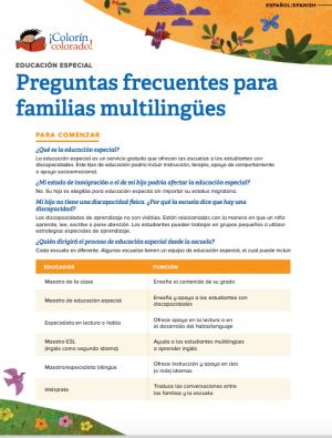 Educación especial: Preguntas frecuentes para familias multilingües