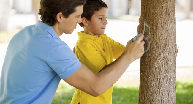 a man and a boy writing on a tree
