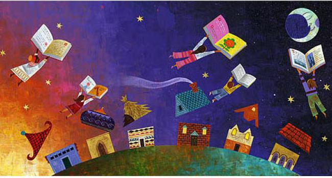 a illustration of children flying with books above a city