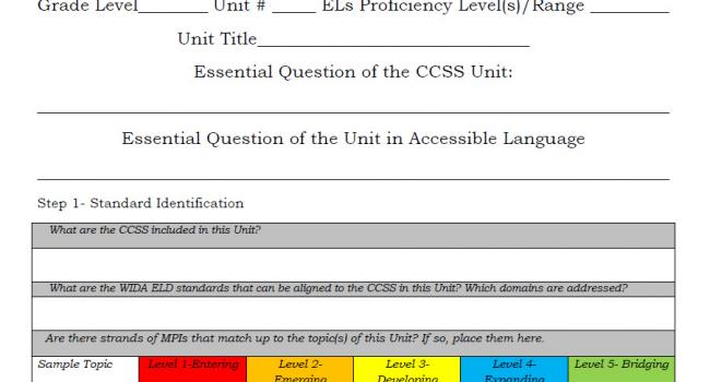 ESL Curriculum Units template