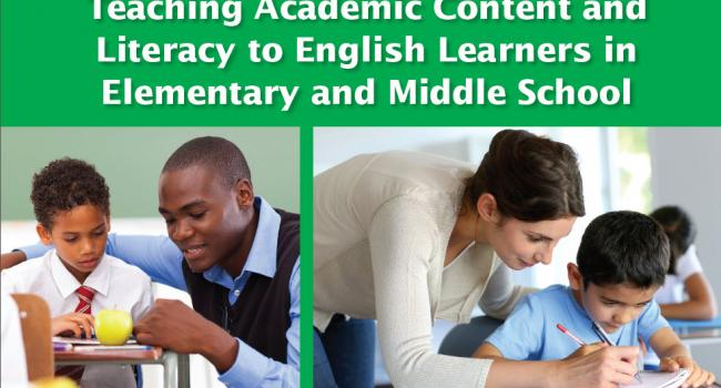 "blue and green cover of ""Teaching Academic Content and Literacy to English Learners in Elementary and Middle School"""