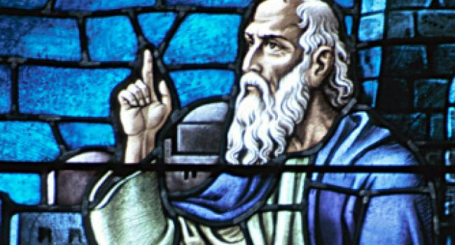 A stained glass drawing of Socrates.