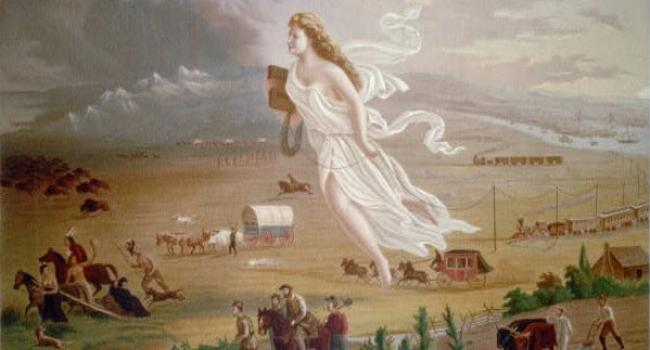 An illustration of the westward expansion showing people riding carriages and horses and there's a woman in white flying above.