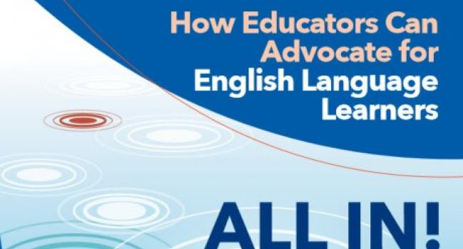 "blue and white cover of ""All In! How Educators Can Advocate for English Language Learners"""