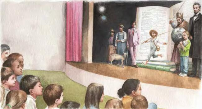 Drawing of children watching people on a stage.