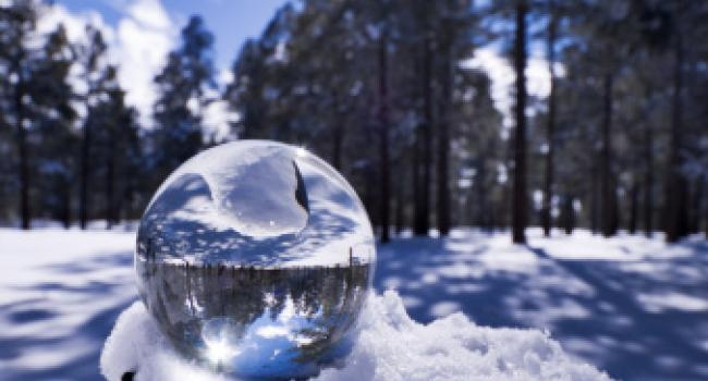 A glass ball in a snowy forrest.