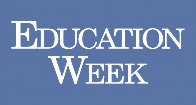 Periwinkle blue Education Week logo.