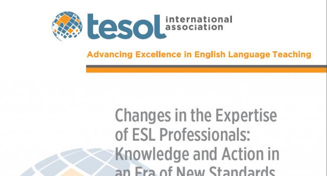 "cover of ""Changes in the Expertise of ESL Professionals: Knowledge and Action in an Era of New Standards"""