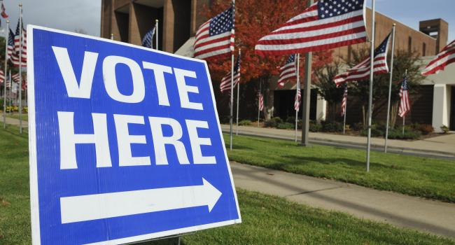 """a """"vote here"""" sign in front of a builing and many American flags"""