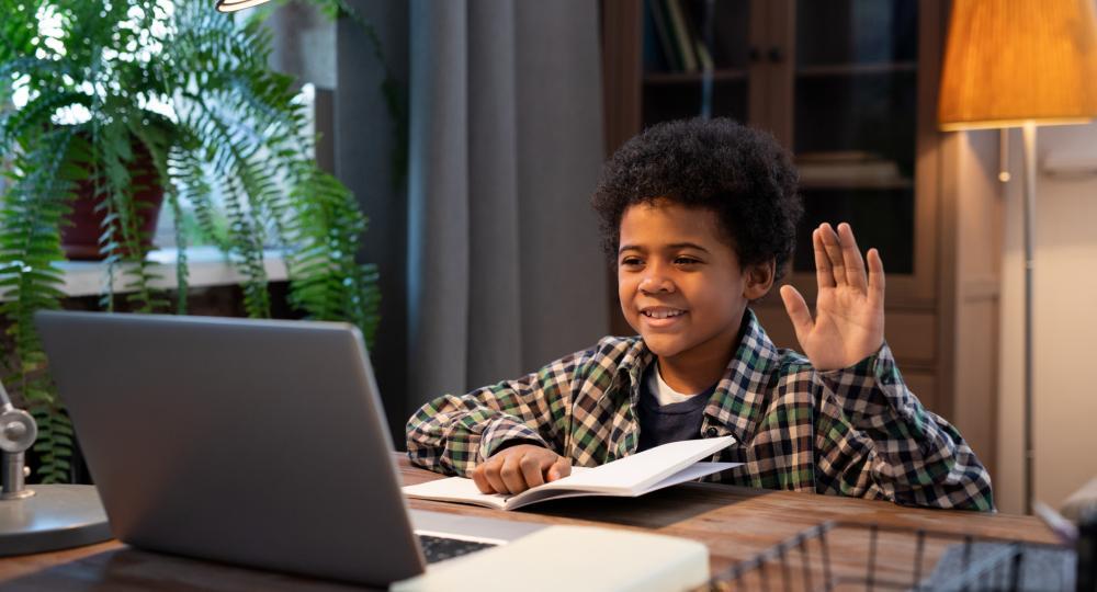 Boy waving to screen